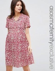 Красное чайное платье с цветочным принтом для беременных ASOS Maternity - Мульти