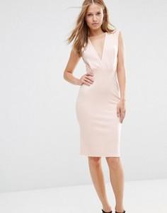 Платье-футляр длины миди с V-образным вырезом Alter - Розовый