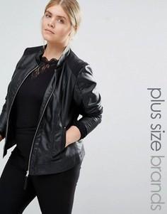 Байкерская куртка из искусственной кожи Junarose - Черный
