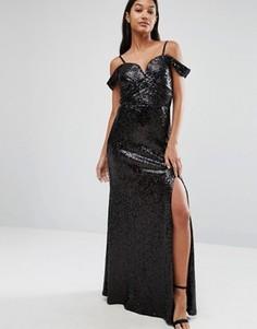 Платье макси с открытыми плечами и отделкой пайетками TFNC - Черный