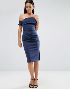 Платье миди с манжетой на одно плечо и драпировкой на юбке ASOS - Мульти