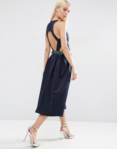 Платье миди для выпускного с декорированной талией и вырезами ASOS - Темно-синий