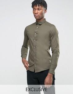 Стретчевая рубашка скинни Only & Sons - Зеленый