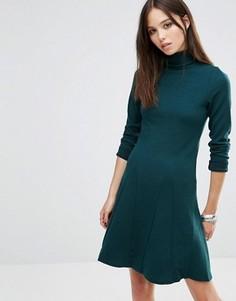 Короткое приталенное платье с отворачивающимся воротом Brave Soul - Зеленый