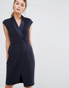 Платье-смокинг миди с запахом спереди Closet - Темно-синий