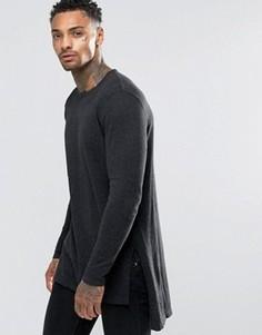 Удлиненный темно-серый джемпер с разрезами по бокам ASOS - Серый