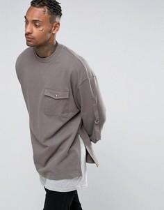 Удлиненный oversize‑свитшот с карманом и лентами ASOS - Серый