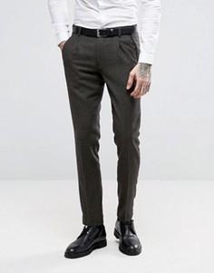 Темно-серые полушерстяные брюки слим ASOS - Зеленый