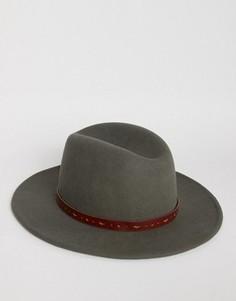 Темно-серая шляпа‑федора с отделкой ASOS - Серый