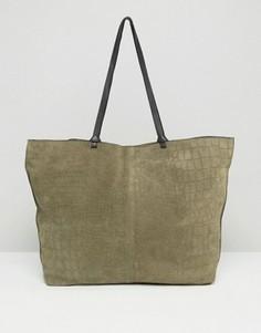 Замшевая сумка-шоппер с отделкой под кожу крокодила и декоративными узлами ASOS - Мульти