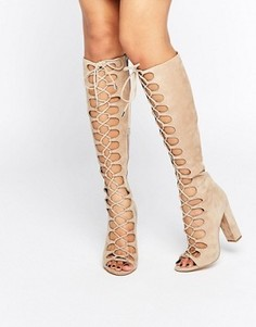Бежевые сапоги на шнуровке Kendall + Kylie - Бежевый