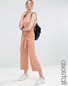 Трикотажный комбинезон с поясом ASOS TALL - Розовый