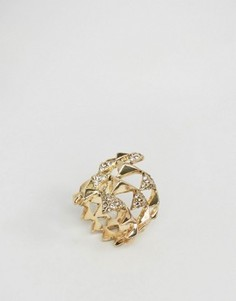 Золотистое кольцо с паве и пирамидкой House Of Harlow - Золотой