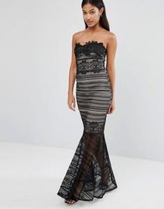 Платье макси с кружевным верхним слоем и юбкой годе Lipsy - Черный