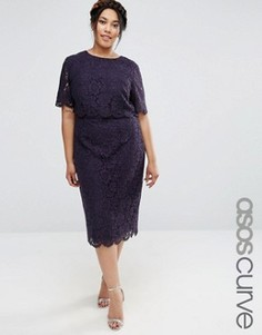 Кружевное платье-футляр миди с укороченным топом ASOS CURVE - Темно-синий