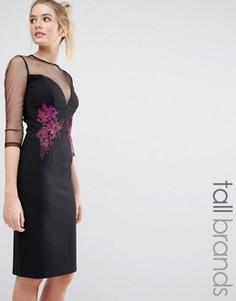 Платье-футляр с вышивкой Little Mistress Tall - Черный