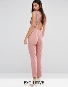Комбинезон с открытой кружевной спинкой Boohoo - Розовый