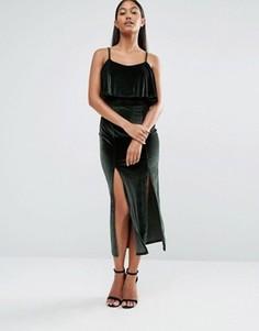 Бархатное платье миди Boohoo - Зеленый
