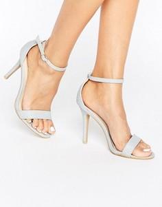 Бледно-серые сандалии на каблуке со змеиным принтом Glamorous - Серый