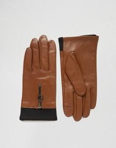 Кожаные перчатки на молнии с кольцом и с отделкой в рубчик ASOS - Коричневый