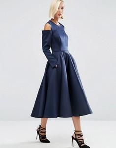 Платье миди из нетканого атласа с открытыми плечами ASOS WHITE - Темно-синий