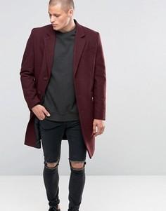 Бордовое полушерстяное пальто ASOS - Красный
