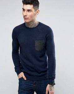 Джемпер из смешанной овечьей шерсти с контрастным тканым карманом ASOS - Темно-синий