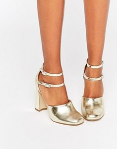Туфли на блочном каблуке с двумя ремешками вокруг щиколотки Lost Ink - Золотой