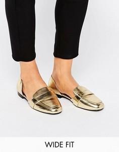Туфли для широкой стопы на плоской подошве ASOS MYRA - Золотой