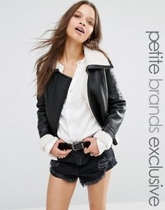 Куртка из полиуретана с искусственной овечьей шерстью Glamorous Petite - Черный