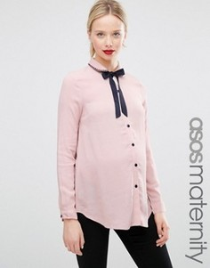 Блузка для беременных с завязкой у горловины и вышивкой на воротнике ASOS Maternity - Розовый