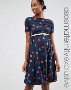 Платье для беременных в горошек с ремнем ASOS Maternity - Фиолетовый