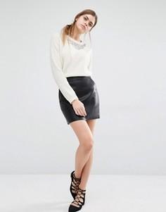 Мини-юбка из искусственной кожи Suncoo Fittz - Черный