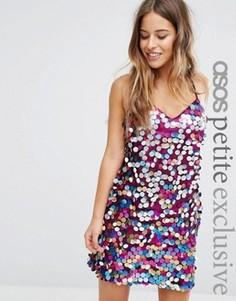 Платье на тонких бретельках с пайетками ASOS PETITE - Мульти