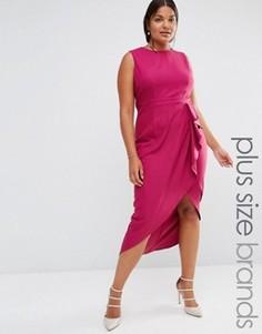 Платье миди с оборкой Little Mistress Plus - Розовый