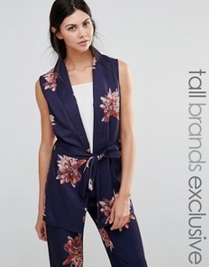 Пиджак без рукавов с цветочным принтом и поясом Alter Tall - Мульти