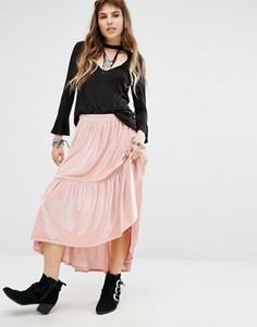 Юбка миди с оборкой на подоле Rokoko - Розовый