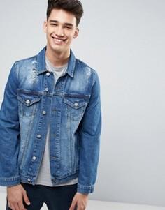 Синяя рваная джинсовая куртка ASOS - Синий