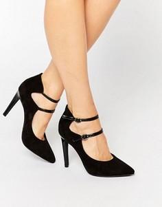 Остроносые туфли на каблуке с ремешками London Rebel - Черный