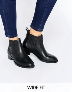 Кожаные ботинки челси для широкой стопы ASOS ABOUT TIME - Черный