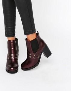 Ботинки челси на каблуке с люверсами Park Lane - Красный