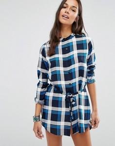 Платье-рубашка в клетку Brave Soul - Синий