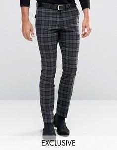 Эластичные супероблегающие брюки в клетку тартан Noose & Monkey - Серый
