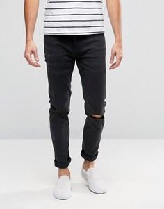 Облегающие серые джинсы с дырками на коленях Cheap Monday - Черный