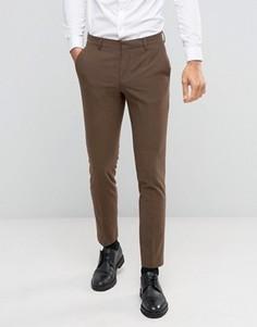 Коричневые зауженные брюки ASOS - Коричневый