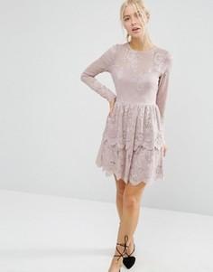 Приталенное платье мини с кружевной ярусной отделкой ASOS - Бежевый