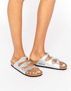 Серебристые узкие сандалии Birkenstock Florida - Серебряный