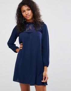 Свободное платье с кружевной отделкой спереди Brave Soul - Темно-синий