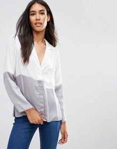 Атласная пижамная блузка в стиле колор блок ASOS - Кремовый