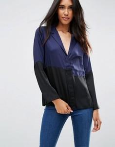 Атласная пижамная блузка в стиле колор блок ASOS - Темно-синий